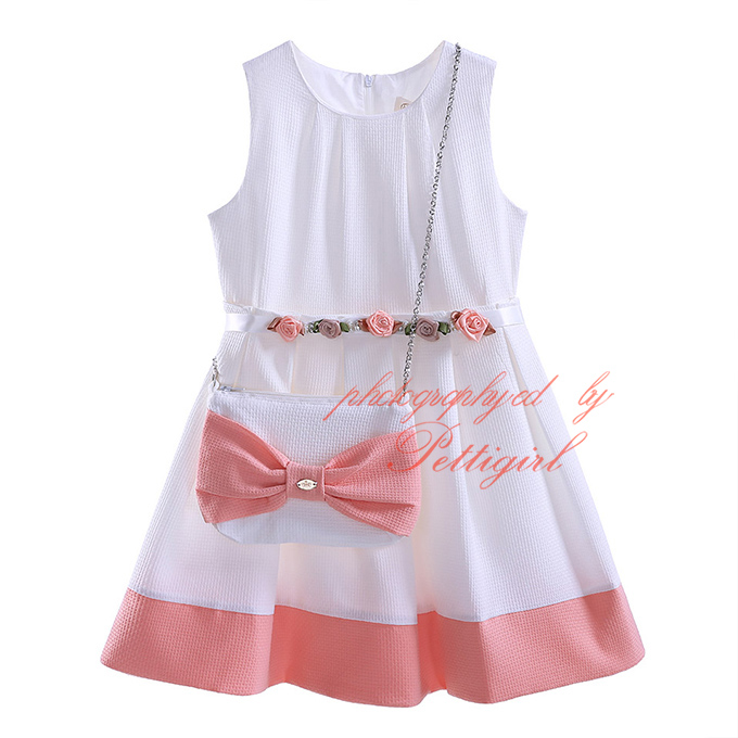 2016 Summer White Girl Dresses With Cute Bow Bag Sleeveless Girls Casual Dress Fancy Kids Wear GD81016-4Y