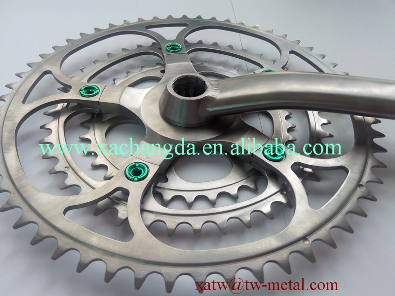 xacd made titanium chain ring titanium crank titanium bicycle crankset custom