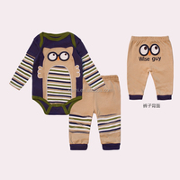 hot sale 100% cotton custom lovely night owl pattern simple stripe eye pattern two piece phip baby clothes