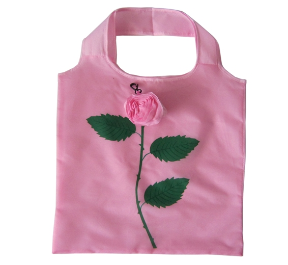 Tote Recycle Reusable Folding Nylon Bag rose shaped shopping bag