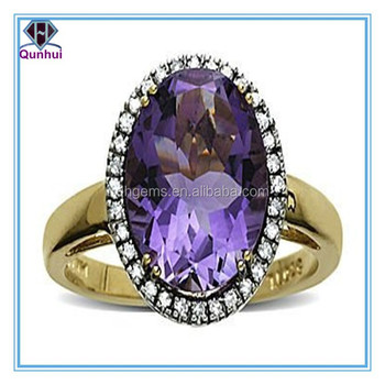 Fancy amethyst oval shaped cubic zirconia rings