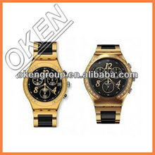 2013 mk style watch talk alarm clock gold watch man wood watch