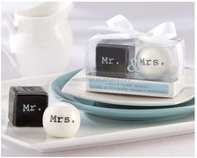 Wedding favor Mr and Mrs Ceramic Salt and Pepper Shakers