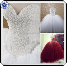 RSW607 Puffy Princess Cathedral/ Royal Train Pearls Beading Bling Saudi Arabian Wedding Dresses Ball Gown Imported From China