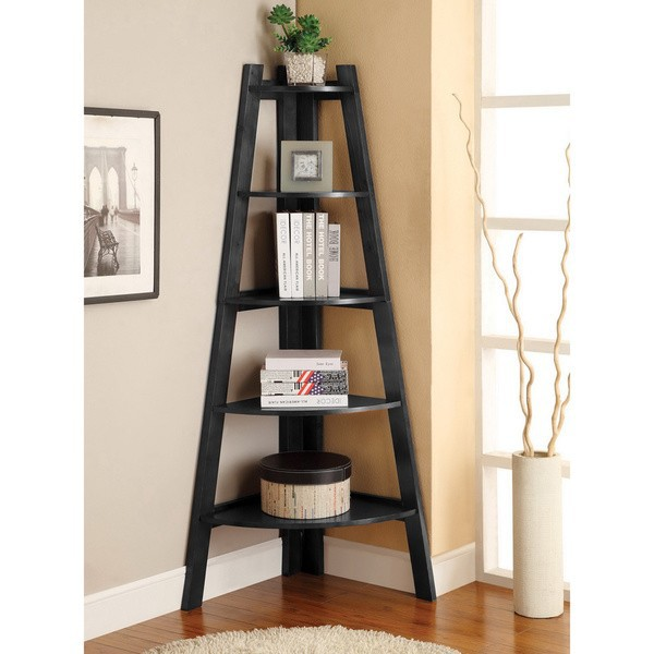 Furniture of America 5-tier Corner Ladder Display Bookcase