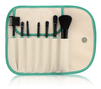 Coral Green 7pcs Personalized Makeup Brush Set