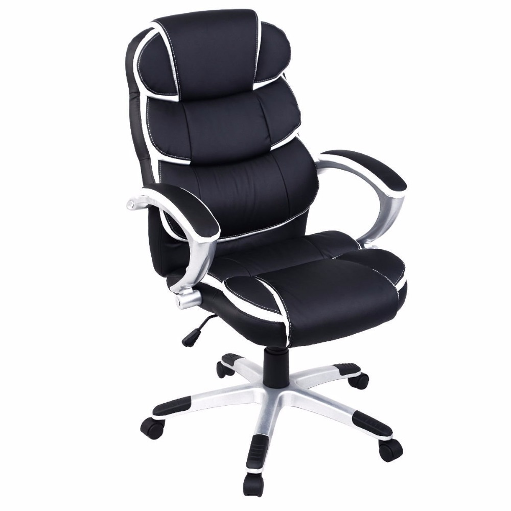 Ergonomic PU Leather High Back Executive Computer Desk Task Office Chair (Black)