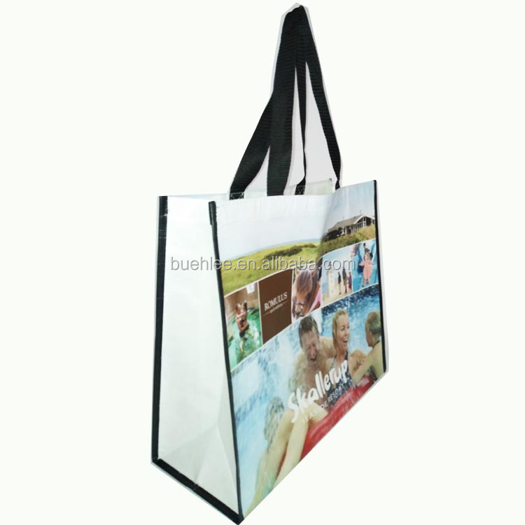 Europe laminated recycled pet rpet fabric photo print shopping bag with tote