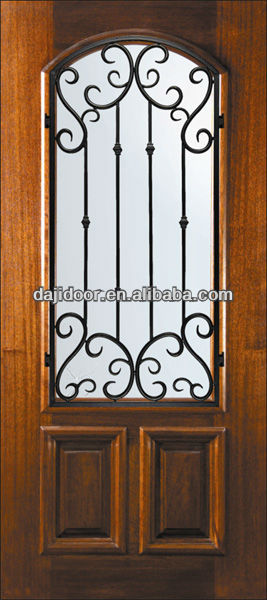 Wooden Wrought Iron Security Door Grills Designs Exterior DJ-S5331MW-3