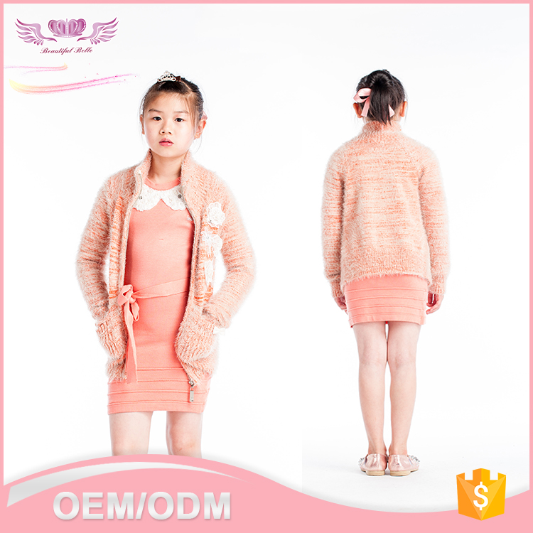 2016 new Europe popular style boutique long sleeve turn-down collar zipper orange or blown cashmere woolen children coat