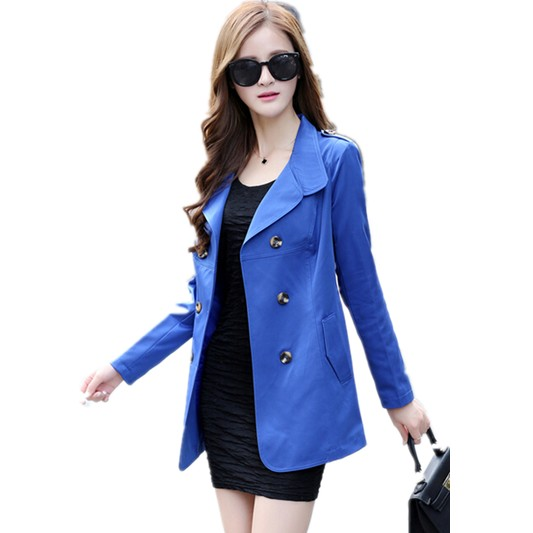 2015 Plus Size Women's Autumn Thin Turn-down Collar Double-breasted Windbreaker , Korean Casual Coat Women Free Shipping 6852
