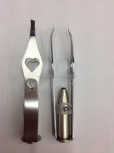 YS1031 Yongsun 2014 Eyebrow LED lighted stainless steel Tweezers with beauty shape