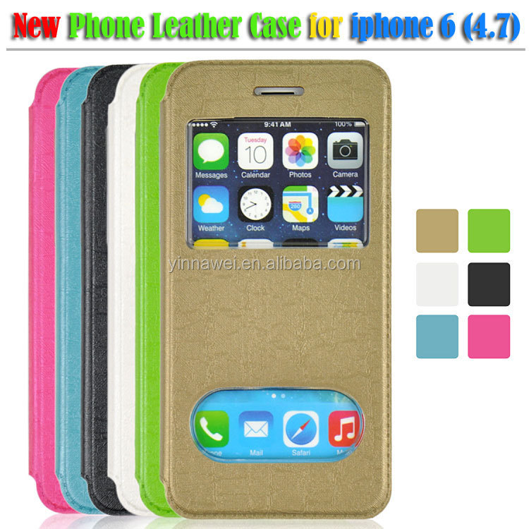High quality flip leather case with window for iphone 6 4.7