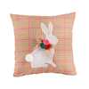 Rabbit Pattern Floral Fabric Pillow Cushion Home Decorative 10 inch Square Plaid Pillows For Easter day