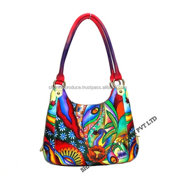 Leather Hand Painted Hobo Bag