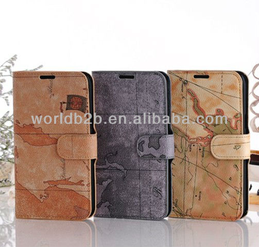 New Fashion Earth Skin Flip Mobile Phone Leather Case for Samsung Galaxy Note 2/N7100,many Grain Leather available