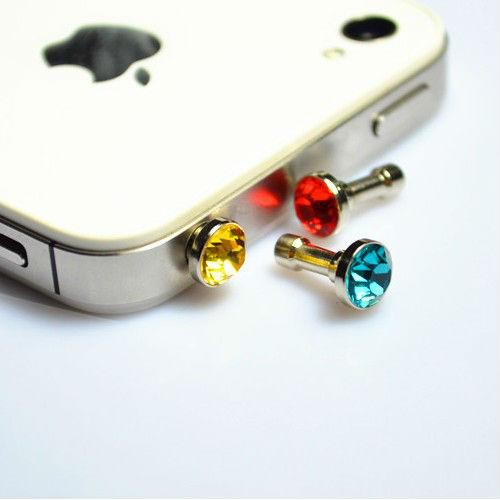 High quality smart phone diamond dust plug 3.5mm jacks for iphone 5