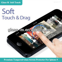 0.15mm Smart Phone Soft Touch Drag Tempered Glass Screen Protector Cover Film For Iphone 5 5s 5c