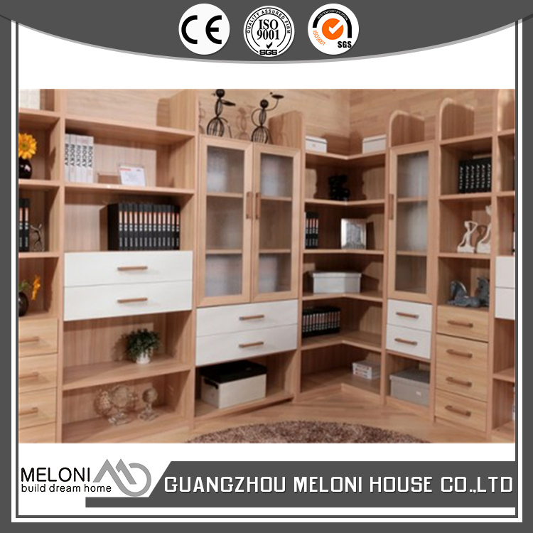 L shape modular modern bookcase with open shelf for home use