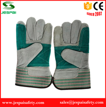 Green Double Palm cow split leather construction gloves