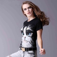 Fashion lady t shirt with animal image printing