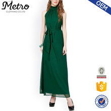 Ladies Latest Green Solid New Design Long Casual Maxi Winter Dresses