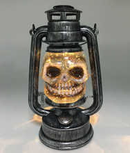 Vintage Plastic Battery Operated Handheld Hanging LED Water Globe Glitter Decoration Halloween Skull Lantern