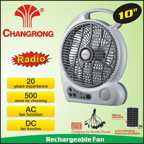 10'' rechargeable handheld box <strong>fan</strong> with radio function and DC socket