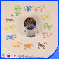 12 designs animal mini shaped paper clips with tin box package