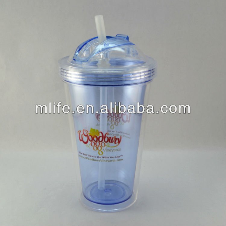450ml/16oz BPA free insulated resuable double wall plastic sippy cups with straw