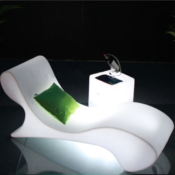 LED multy-color plastic material outdoor lounge chair furniture  patio furniture beach chair sun bed
