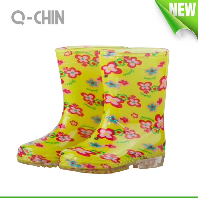 K020 colorful printing pvc rain boots with light