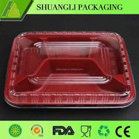 Food grade plastic food tray attached clear lid container for sale