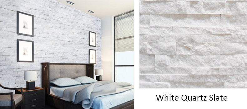 White quartzite slate for exterior wall or fireplace surround white veneer stone