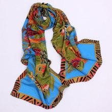 Sexy Silk Scarf Custom Digital Print Big Size Chinoiserie
