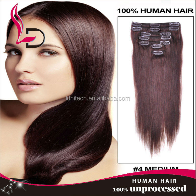 clip on Clip In Human Hair Extensions 7A Grade 100% Brazilian Virgin Remy Clips In Human hair extensions Full head Set