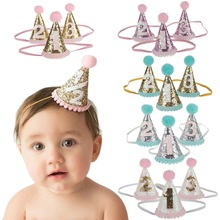 New Design Europe Style Kids Creative Hair Accessory Paillette Small Cap Birthday Party Hat Baby Hair Band Glitter Baby Headwrap