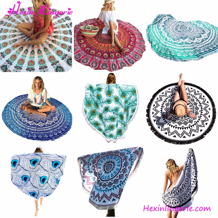 2017 ice cream shaped 100% cotton pareo beach towel round with blue tassels