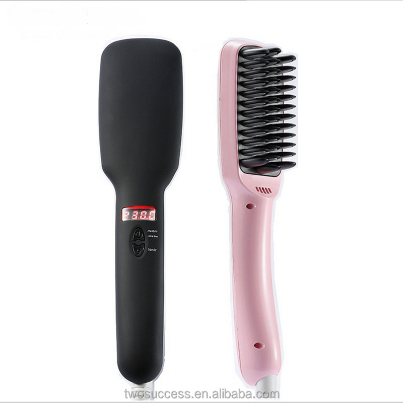 Fashion Safety 2 In 1 Anion Electric Hair Straightener Comb With LED Display