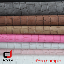Crocodile Stone Partten coating backing finished effect Genuine pu leather