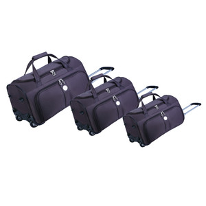 Durable lightweight trolley travel bag with wheels, universal rolling wheeled carry on weekender overnight dance duffel bag set