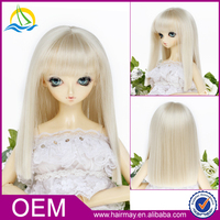Best quality long straight baby girl white bjd hair wig with bangs