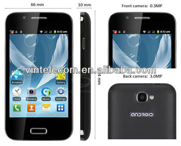 A7100 Android smart phone 4.0 inch android 2.3 SC6820 1.0GHz WiFi FM 4.0 Capacitive Touch Screen dual sim card smart phone
