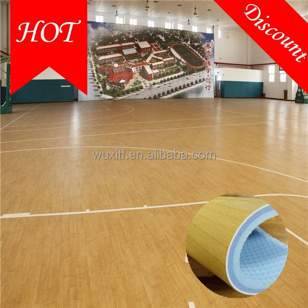 Waterproof sturdiness indoor pvc rolls basketball flooring