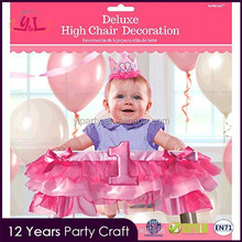 Party City The First Birthday Softextile Fabric 37'' Pink Chair Decoration For Baby Girl Sex Party Supplies