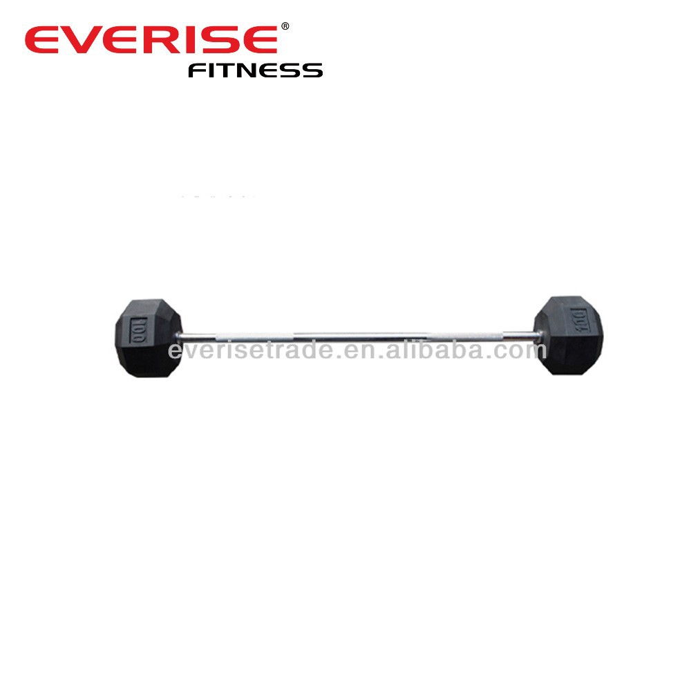 Hex rubber barbell