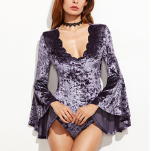 Scallop Neckline Flute Sleeve Crushed Velvet Cheeky Bathing One Piece Suit Bikini Suit