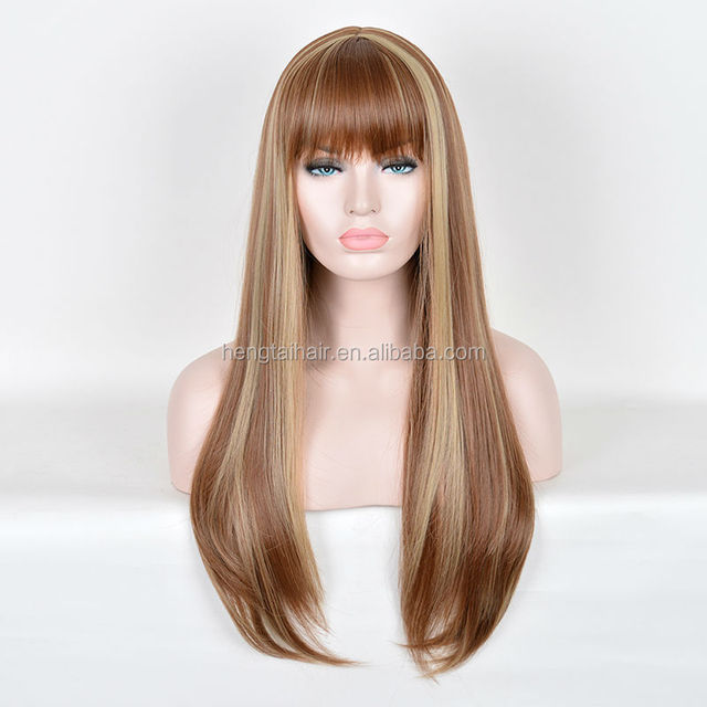 Full Synthetic Heat Resistant Wig 70cm Brown Golden Ombre Long Straight Hair With Neat Bang Lolita Natural Daily Wigs
