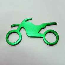 Customized green motorcycle aluminum beer bottle opener metal keyrings
