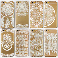 Phone Case for iPhone 4 4s 5 5s 5c 6 6s 6Plus 6s Plus Transparent Vintage White Datura Paisley Flower painting PC Hard cover
